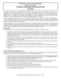 Resident Assistant Job Description Resume Ra Job Description