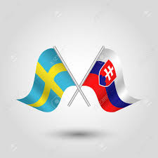Sweden Flag Image Vector Two Crossed Swedish And Slovak Flags On Silver Sticks