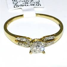gold promise rings ring 0 16ct diamonds 10k gold split shoulder yellow gold