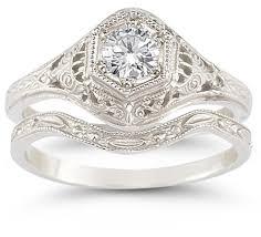 Diamond Wedding Ring Sets by Antique Style 1 3 Carat Diamond Bridal Engagement Ring Set