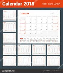 Calendar Template for 2018 Year Set of 12 Months Business