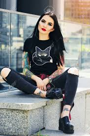 hipster girl gorgeous tattoed woman portrait of young tattoed hipster girl