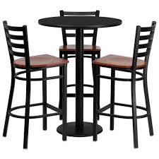 bar stools tables round black laminate table set with 3 ladder back metal barstools
