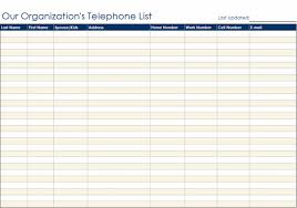 Microsoft Excel Address Book Template Ms Office Organizational Telephone List Form Templates