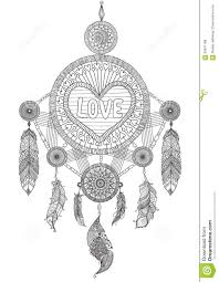 heart shape dream catcher with beautiful feathers for coloring