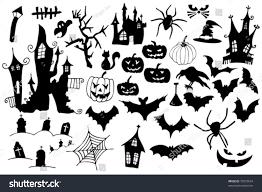 halloween silhouette vector collection halloween symbols easy edit vector stock vector