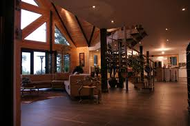 natural interior design of the modern custom log homes that has