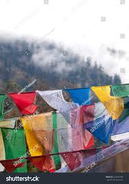 Small Prayer Flags Colorful Prayer Flags Over Misty Himalayas Stock Photo 223461088