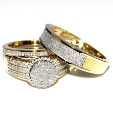 cheap wedding rings sets for him and his and bridal rings set trio 0 73ct 10k yellow gold halo