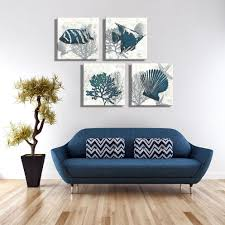 aliexpress com buy 4piece canvas art navy blue starfish tropical