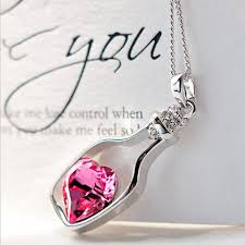 necklace with crystal pendant images Fashion love bottle heart crystal pendant necklace gifts jpeg