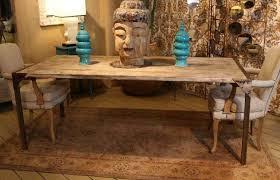 Distressed Wood Dining Table Custom Made Urban Dining Table Reclaimed Wood Top Distressed Metal