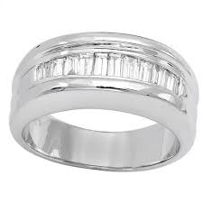 types of mens wedding bands mens diamond ring in 14k white gold baguette 1 04ct channel type