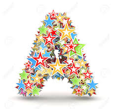 letter a maked from bright colored holiday stars stock photo