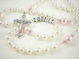 baby rosary personalized baptism rosary for a baby girl pink and white