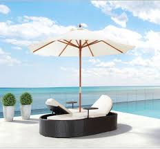 Double Chaise Lounge Chair Oval Double Chaise Lounge Chair With Umbrella Scenario Home