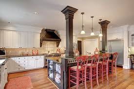 kitchen islands with columns traditional kitchen with limestone tile columns in woodinville