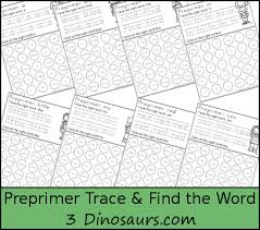 3 dinosaurs sight word trace u0026 find the word