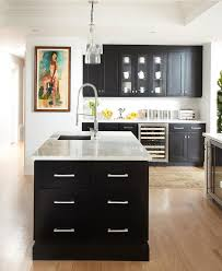 Black Shaker Kitchen Cabinets Black Kitchen With Polished Nickel Pulls