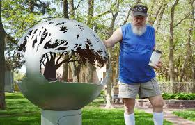 Sphere Fire Pit by Norfolk Artist Retired Welder Turn Steel Spheres Into Works Of