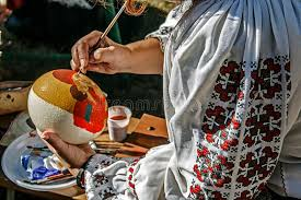 painted ostrich eggs woman painting ostrich egg stock image image of colorful 38662095