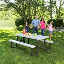 Picnic Table With Benches W Frame Folding Picnic Table Putty