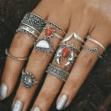 ring set vintage engraved moon sun finger ring set in silver twinkledeals