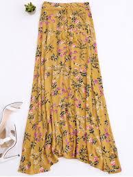 maxi skirt front slit tiny floral maxi skirt yellow skirts s zaful