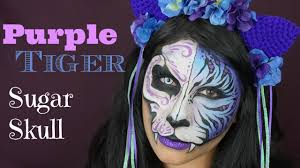 purple tiger sugar skull makeup tutorial face painting youtube