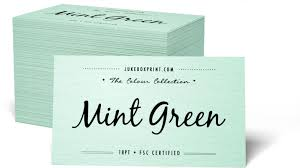 Mint Green Color Coloured Paper Business Cards From Jukebox Print Jukeboxprint Com