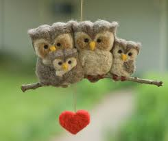 needle felted owl ornament family of four so this artist