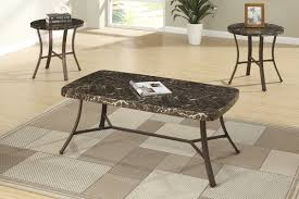 faux marble coffee table 3pcs faux marble coffee and end table set by poundex f3090