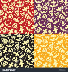 halloween background papers seamless halloween pattern background sculls bones stock vector