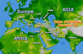 Biblical Map Of The Middle East by Map Of The Origin Of Nations In Genesis 10 Bible History Online