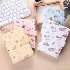 travel diary images Cat cartoon pu leather cover buckle travel diary color page note jpg