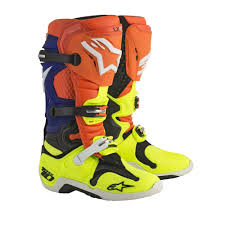 motocross boots alpinestars alpinestars 2018 tech 10 boots orange blue yellow available at