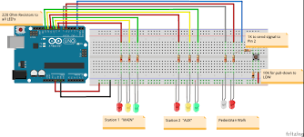 4 way traffic light using arduino 2 way intersection with pedestrian walk cycle hackster io