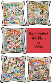 exquisite embroidered state pillows by catstudio a happy