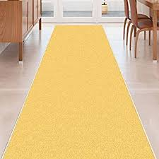 Yellow Runner Rug Yellow Solid Plain Rubber Backed Non Slip Hallway