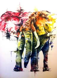 x series abstract elephant oil painting for living room decoration handmade abstract elephant painting for wall decoration art in painting calligraphy