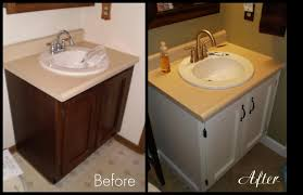 Painted Bathroom by Painting Bathroom Vanity Before And After Picture On Bathroom