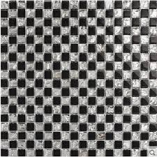 Glass Tile Bathroom Backsplash by Black Crystal Glass Tile Silver Metal Coating Tile Glossy Tile