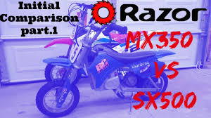 razor mx400 dirt rocket electric motocross bike razor sx500 vs mx350 initial comparison part 1 youtube