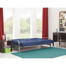 silver metal arm futon frame w full size mattress gray black blue