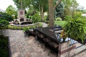 patio design ideas using concrete pavers for big backyard style