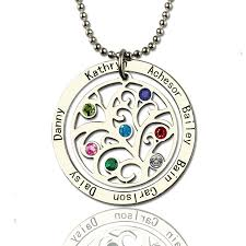 necklace with birthstones family tree birthstone name necklace