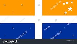 Blue And Yellow Cross Flag Scillonian Cross Flag United Kingdom Region Stock Illustration
