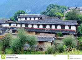 house design pictures nepal traditional stone house in ghandruk nepal royalty free stock