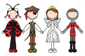 kids holding hands in halloween costumes royalty free cliparts