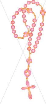pink rosary pink rosary cross clipart